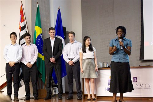 Students presenting at the International Business Plan Competition