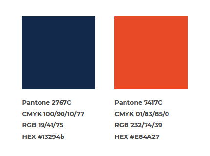 Photo of theofficial orange and blueto be used on all materials