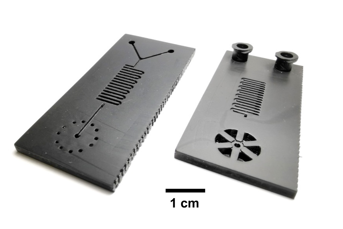 Illinois researchers developed a microfluidic cartridge for a 30-minute COVID-19 test. The cartridges are 3D-printed and can be manufactured quickly. Photo courtesy of Bill King