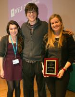 First place in the 2014 CSAW Policy Competition: Whitney Merrill (right) and Nick Ciaglia (center), here with Ellen Nadeau, Cyber Policy Strategist at National Institute of Standards and Technology.