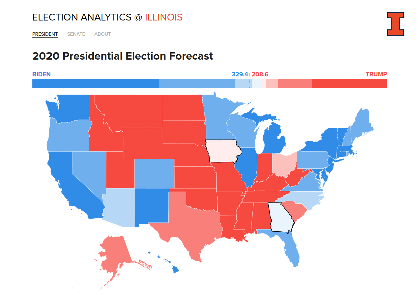 This year's Election Analytics @ Illinois website has four team members, including three undergraduate students from Illinois CS.