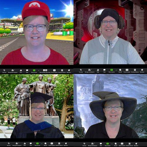 Od Maria in Yoshija do Kandolfa in Leah - Grovets se je lani spomladi združil s študenti v Zoomu, ki so nosili različne kape in kostume.  V tem jesenskem semestru profesor Zoom svoje zanimanje za fotografijo uporablja za vključevanje študentov.