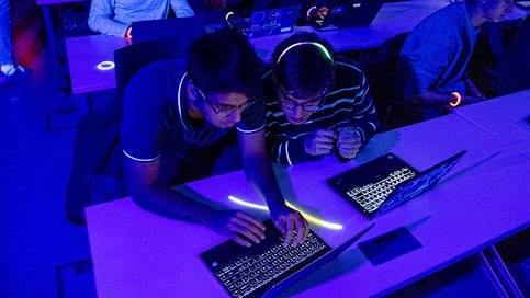 Students participate in the Code In the Dark event