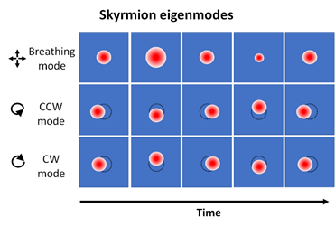Schematic temporal snapshots of three characteristic skyrmion resonances, namely the breathing mode as well as the counterclockwise (CCW) and clockwise (CW) gyration modes. Red and blue colors indicate opposite directions of the out-of-plane magnetization.