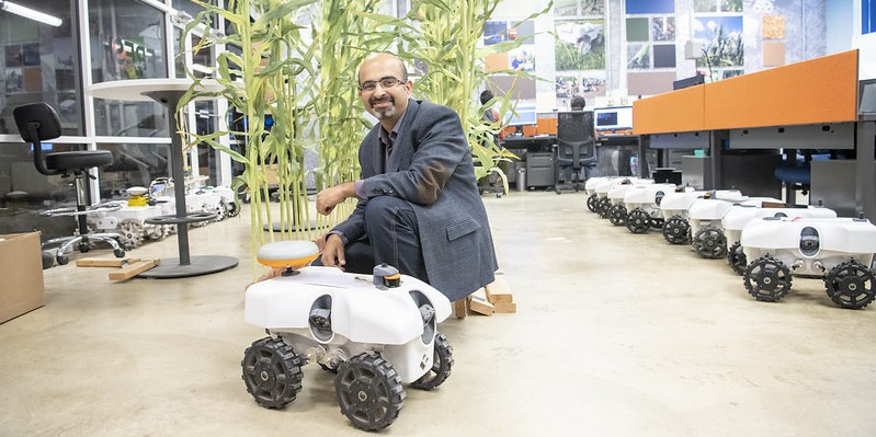 Girish Chowdhary with one of his TerraSentia robots.