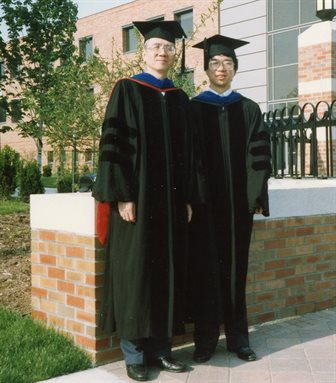 Dave Liu and his PhD graduate Jason Cong in 1990.