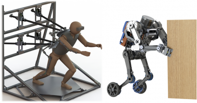 Human and SATYRR2: An operator will use full-body haptics to manipulate the robot remotely.