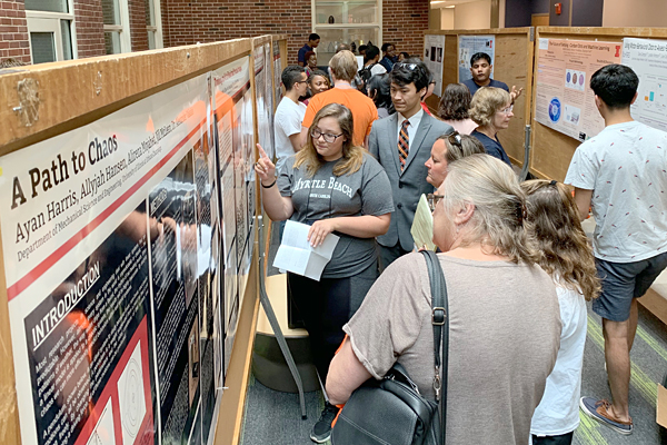 Students present their research at the 2019 WYSE poster session.