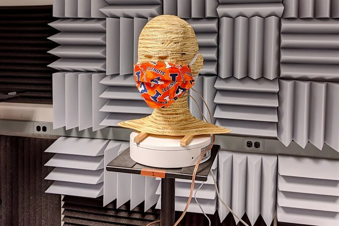 A mask on a mannequin head in the Augmented Listening Laboratory.