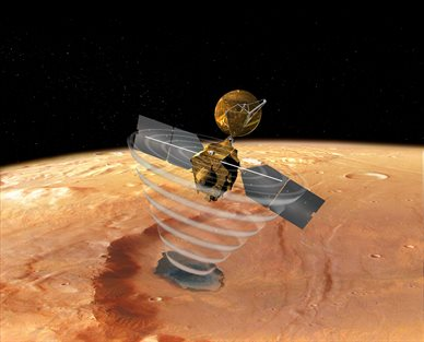 "Artist's concept of a view looking down on NASA's Mars Reconnaissance Orbiter. The spacecraft is pictured using its Shallow Subsurface Radar instrument (SHARAD) to ""look"" under the surface of Mars. Photo courtesy of NASA."