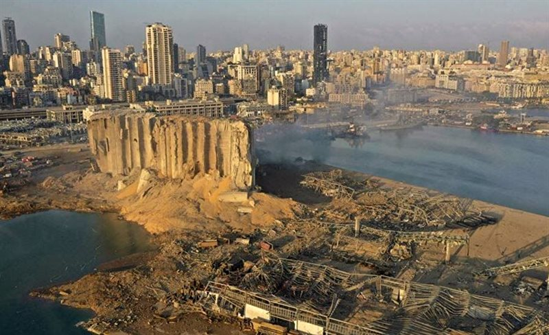Ground zero at the Port of Beirut, Lebanon, and the severely damaged grain silos in the aftermath of the Aug 4, 2020 explosion. Courtesy of Sadek et. al (2021) GEER report