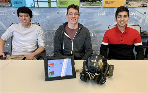Pictured from left are: Peter Chien (B.S. '22, Mechanical Engineering), Thomas Kaufmann (B.S. '21, Systems Engineering and Design), and Rishi Choudhary (B.S. '22, Systems Engineering and Design).