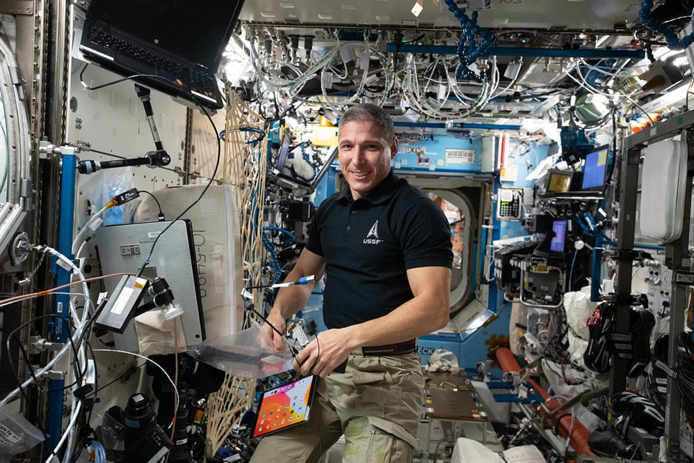 Mike Hopkins, BS '91, aboard the International Space Station  Credit: NASA