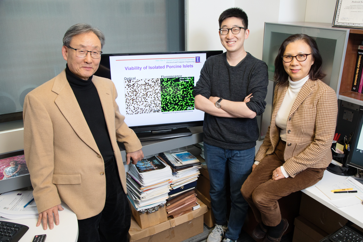 ECE ILLINOIS professor Kyekyoon 'Kevin' Kim, graduate student Benjamin Lew, and research scientist Hyungsoo Choi developed a method to make it easier to transplant pancreatic islet cells from pigs to treat type I diabetes.  Photo by L. Brian Stauffer
