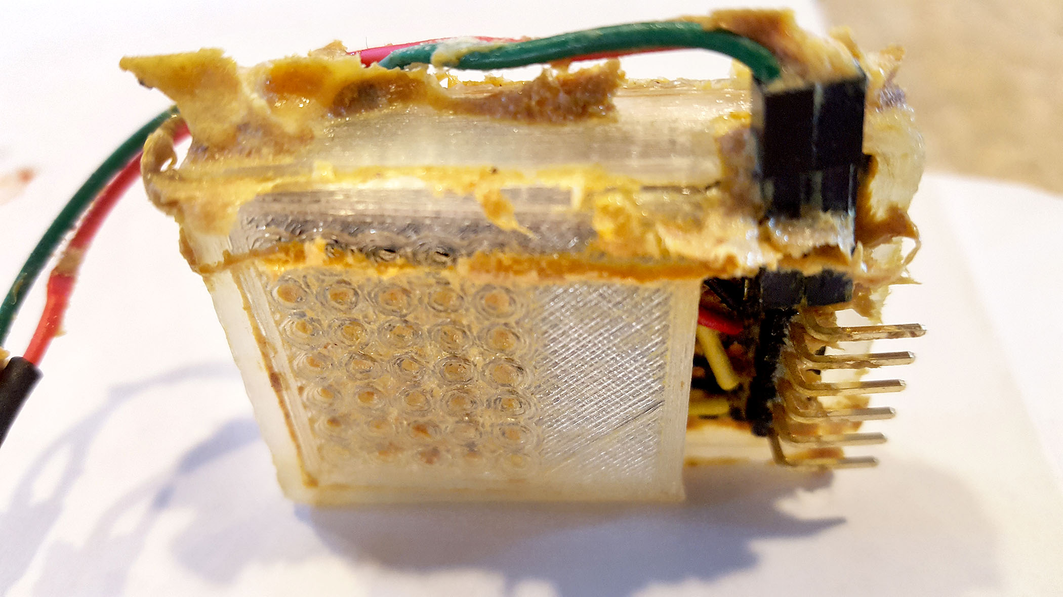 Propolis covers much of the sensor, as seen in these photos provided by Schmitz.