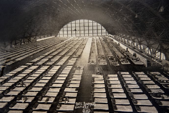 3,400 Members of the Student Army Training Corps, ages 18-21, were trained on campus during the fall semester of 1918. Some 1,500 of them were billeted in the Armory where a temporary second floor was erected to accommodate their cots. The SATC was disestablished at the end of the semester following the Nov. 11 Armistace. <em>Photo courtesy of Joe Rank</em>