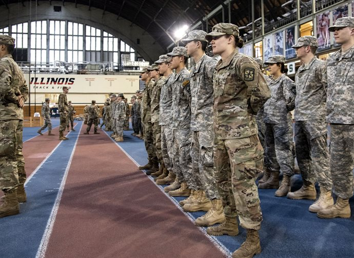 Molly Hein, foreground in front row, an Army ROTC cadet, who just finished her junior year in MatSE, has ties to Illinois that include her sister and Illinois alumna, Stephanie Hein (BS &rsquo;16, Molecular and Cellular Biology), and a distant relative on her father's side, Jonathan Baldwin Turner, who helped establish the University of Illinois. Hein is carving out her own path at Illinois as she prepares for a busy summer, including a trip to Mongolia as part of the ROTC&rsquo;s Cultural Understanding and Language Program (CULP), followed by 37 days of military training at Advanced Camp in Fort Knox, Kentucky.<br /><em>Photo by Heather Coit</em>