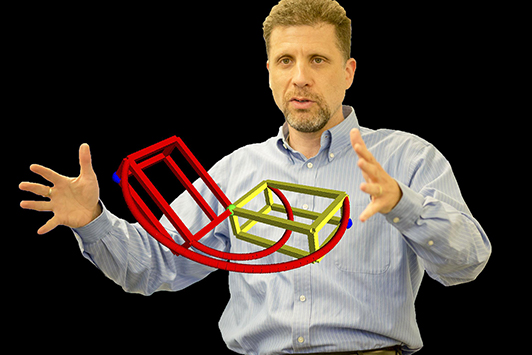 Professor Harry Dankowicz with a design simulation