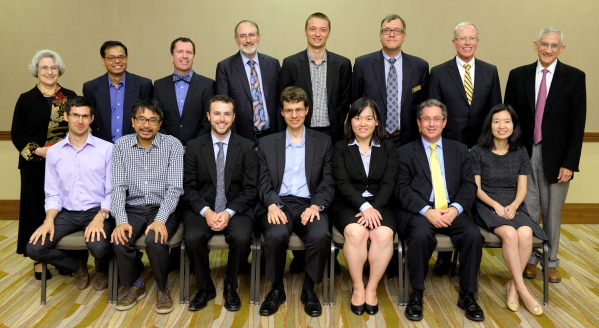 The recipients of the 2016 Illinois Computer Science Alumni Awards. Seated (from left): Milos Gligoric, Yu Pan, Dan Kaufman, Andreas Kloeckner, Le Xu, Steven Ashby, and Yizhou Sun. Standing (from left): Rosalind Weinberg (for Michael Faiman), Romit Roy Choudury, Michael Hughes, Thomas Dietterich, Marcin Kleczynski, CS Department Head Rob A. Rutenbar, Carl Dill, and Ed Reingold.