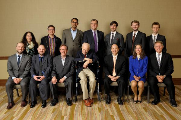 2015 Illinois Computer Science Award recipients. Seated, from left: Pete Koomen, John Criswell, William Dunn, Paul Saylor, Jackson Hu, Lynn Reedy, and Rick Cattell. Standing, from left: Nancy Amato, Luis Ceze, Apu Kapadia, Rob A. Rutenbar, Russ Simmons, Dave Paola, and Cosmin Radoi.