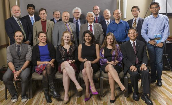 2014 Illinois Computer Science Award recipients. Seated, from left: Alan M. Braverman, Cinda Heeren, Brigid A. Johnson, Parisa Tabriz, Linda Petzold, and Der-Tsai Lee. Standing, from left: Roy H. Campbell, Siva Kumar S. Hari , Michael T. Heath, C. William Gear, Marc Snir, Trevor Mudge, Kenichi Miura, Daniel A. Reed, Franco P. Preparata, Lawrence Angrave, Jason Cong, and Koushik Sen.