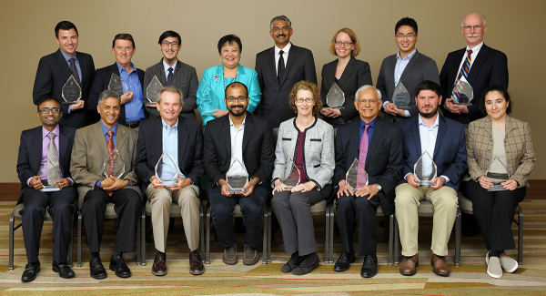 The recipients of the 2017 Illinois Computer Science Alumni Awards. Seated (from left): Rajesh Karmani, Nikil Dutt, James E. Smith, Aditya Parameswaran, Marianne Winslett, Kishor Trivedi, Andrei Åžtefănescu, and Svetlana Lazebnik. Standing (from left): Isaac J. Hall, Richard M. Schell, Steven Ko, Drina C. Yue, Interim CS Department Head Vikram Adve, Jill Zmaczynski, Xiang Ren, and Scott Fisher.
