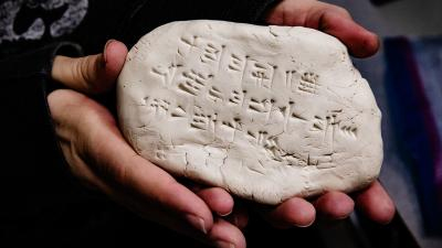 A student's writing in Hittite using cuneiform. Photo by L. Brian Stauffer