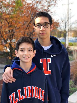 Illinois CS sophomore Christopher Kull, shown with his brother, Zack, says he's just beginning to explore the possibilities computer science holds for him.
