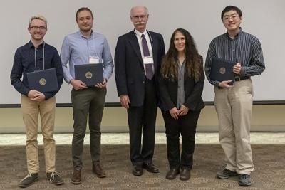 Winners of the Outstanding CA Award (l to r): Nathan Walters, Nicolas Nytko, donor Scott Fisher (CS MS '76), Department Head Nancy Amato, and Eric Cao. (Not pictured: Nathaniel Myren.)